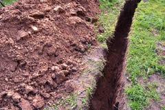 在地面的垄沟 免版税库存图片