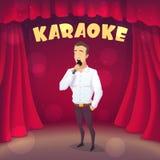 在场面的肌肉人唱歌卡拉OK演唱 动画片样式 免版税库存图片