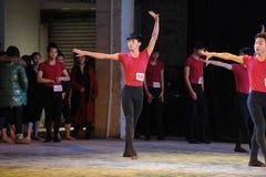 在场面这排练教室这全国舞蹈训练后前面 免版税图库摄影