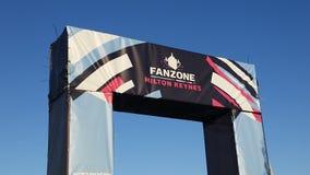 在坎伯米尔顿凯恩斯的世界杯橄榄球赛2015年Fanzone入口 库存图片