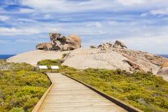 在坎加鲁岛,南澳大利亚的卓越的岩石 免版税库存图片