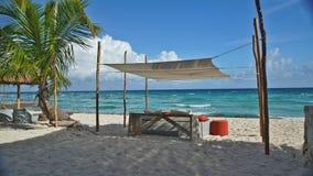 在坎昆太阳下的树荫在海滩 免版税图库摄影