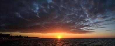在坎比其` s沿海岸区, Camepche市,坎比其,墨西哥的全景日落 库存图片