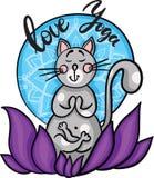 在坐在莲花的凝思的手拉的逗人喜爱的动画片猫 在爱瑜伽上写字 向量 库存图片