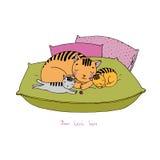 在坐垫的逗人喜爱的动画片猫 免版税库存图片