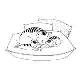 在坐垫的逗人喜爱的动画片猫 图库摄影