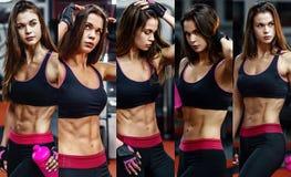 在坚硬锻炼以后的运动少妇在健身房 健身女孩拿着有嬉戏营养的振动器 照片拼贴画  免版税图库摄影