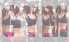 在坚硬锻炼以后的运动少妇在健身房 健身女孩拿着有嬉戏营养的振动器 照片拼贴画  库存图片