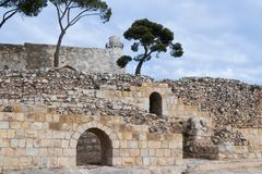 在坟墓撒母耳-先知的疆土的废墟 也位于An-Nabi Samwil AlNabi Samuil -巴勒斯坦村庄我 免版税库存照片