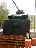在坦克附近的博德牧羊犬 库存照片