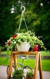 在垂悬的罐的五颜六色的花,在一个木立场 免版税库存照片