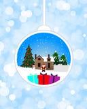 在垂悬的装饰品的圣诞节题材 库存例证