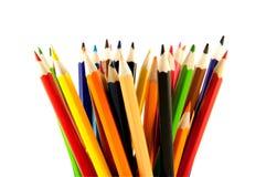 在垂直位置的许多色的铅笔 库存图片