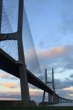 在垂直的瓦斯科・达伽马桥梁 免版税库存照片