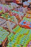在垂直的看法的日本米糕点心 免版税库存图片