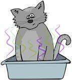 在垃圾箱的猫 免版税库存照片
