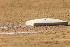 在垒球场的一垒 免版税库存图片