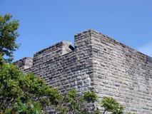 在垛口的大炮,老魁北克市,加拿大 免版税库存图片