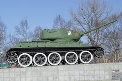 在垫座的坦克T-34 库存图片