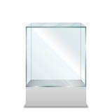 在垫座的空的透明玻璃箱子 免版税库存照片
