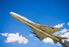 在垫座的苏联航空器 对苏联航空的纪念碑 免版税图库摄影