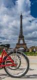 在埃佛尔铁塔的后方红色自行车车轮在背景在巴黎 免版税库存照片