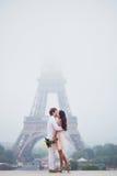 在埃佛尔铁塔附近的美好的浪漫夫妇在巴黎 免版税库存图片