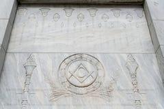 在埃及样式的Illuminati自由泥工标志 库存图片