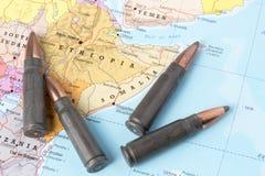 在埃塞俄比亚和索马里的地图的子弹 库存照片