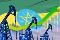 在埃塞俄比亚旗子背景-埃塞俄比亚石油工业或市场概念的工业例证的增长的图表 3d例证 库存例证