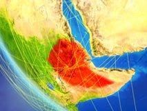 在埃塞俄比亚附近的网络从空间 库存例证
