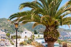 在埃尔米塔de Sant Sebastia,锡切斯,巴塞罗那, Catalunya,西班牙教会背景的棕榈树特写镜头  库存图片