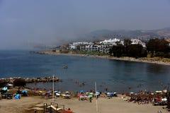 在埃斯特波纳西班牙的薄雾 免版税图库摄影