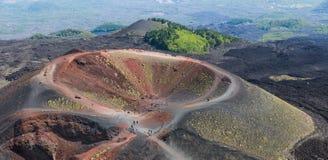 在埃特纳火山倾斜的Silvestri火山口海岛的西西里岛,意大利 库存图片