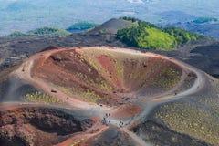 在埃特纳火山倾斜的Silvestri火山口海岛的西西里岛,意大利 免版税库存照片