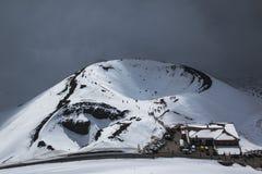 在埃特纳火山的Crateri Silvestri与雪 库存图片