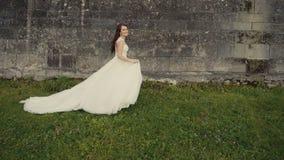 在城堡前的美丽的新娘汝宁 股票视频