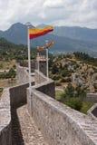 在城堡墙壁上的旗子。 库存图片