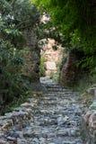 在城堡小山的老街道在阿拉尼亚 免版税库存照片