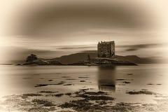 在城堡潜随猎物者,苏格兰,英国的日落 库存图片