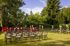在城堡的室外婚礼 免版税图库摄影