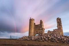 在城堡的彩虹 库存照片