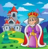 在城堡题材2附近的愉快的女王/王后 库存图片