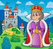 在城堡题材1附近的愉快的女王/王后 免版税库存图片