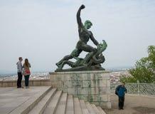 在城堡Gellert的雕象在布达佩斯04 库存照片