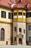 在城堡Hohentubingen,德国法院的详细的看法  免版税库存图片