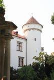 在城堡Konopiste的塔 免版税库存图片