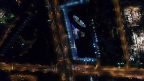 在城市交通的飞行在晚上 影视素材