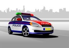 在城市全景背景的警车 库存图片