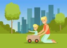 在城市公园生和他的使用与外面玩具汽车的儿子,家庭休闲传染媒介例证 皇族释放例证